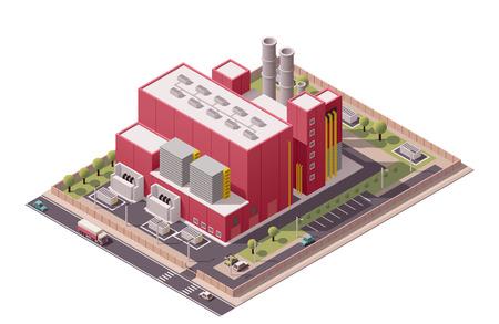 Ilustración de Isometric icon set representing factory with backyard - Imagen libre de derechos