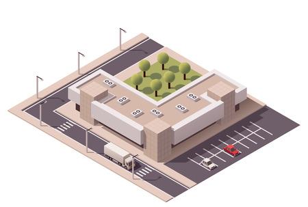 Ilustración de Vector isometric shopping mall building icon - Imagen libre de derechos