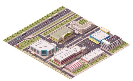 Illustration pour Vector isometric shopping district - image libre de droit
