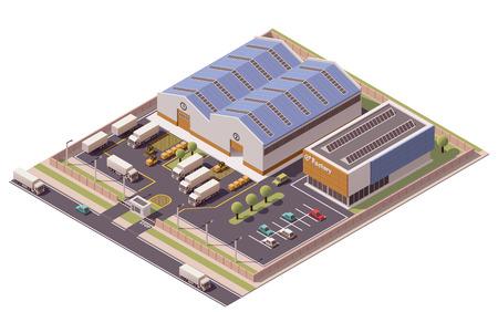 Ilustración de Vector isometric factory buildings icon - Imagen libre de derechos