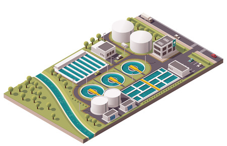 Illustration pour Vector isometric water treatment plant - image libre de droit
