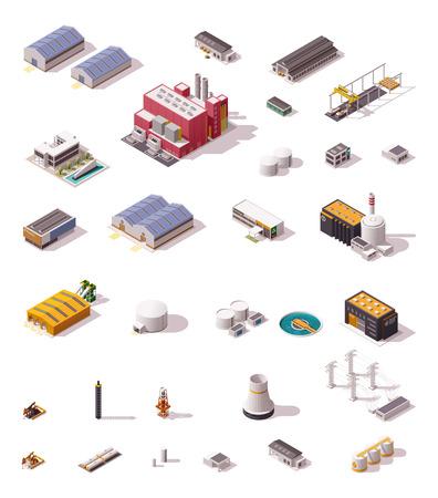 Ilustración de Isometric icon set representing industrial structures - Imagen libre de derechos