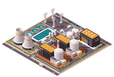Illustration for Isometric icon set representing nuclear power station - Royalty Free Image