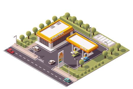 Illustration pour Isometric icon set representing small gas station - image libre de droit