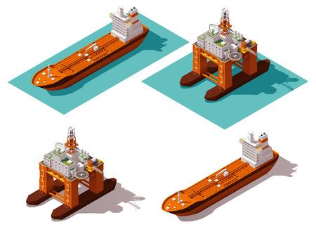Illustration pour Isometric icon set representing oil platform and tanker - image libre de droit