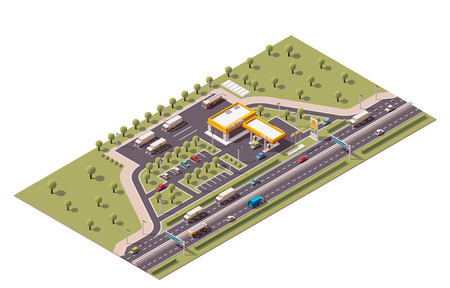 Illustration pour Isometric icon set representing highway gas station - image libre de droit
