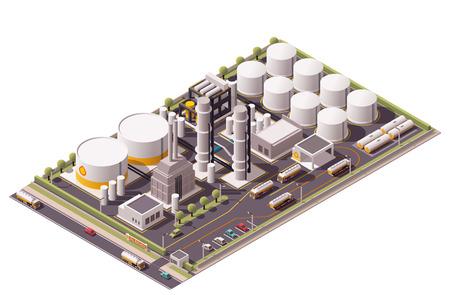Ilustración de Isometric icon set representing oil refinery - Imagen libre de derechos