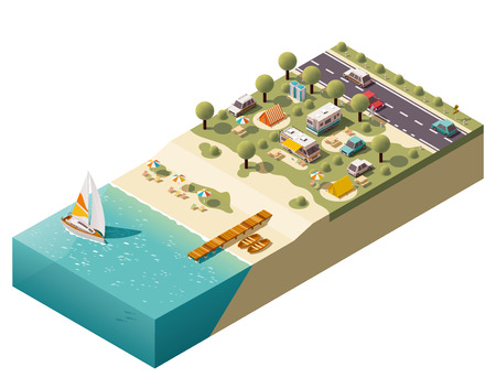 Illustration pour Isometric campsite near the coast - image libre de droit