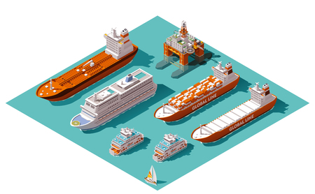 Photo pour Isometric icons representing nautical transport - image libre de droit