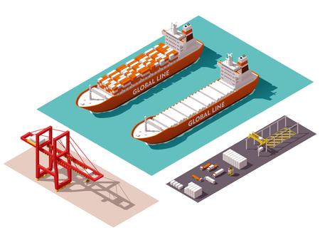 Illustration pour Isometric cargo port machines and equipment - image libre de droit