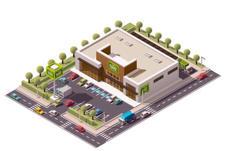 Ilustración de isometric grocery store building - Imagen libre de derechos