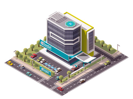 Illustration pour Vector isometric hospital building icon - image libre de droit