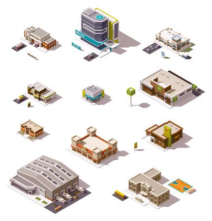 Foto de Set of the different isometric buildings - Imagen libre de derechos