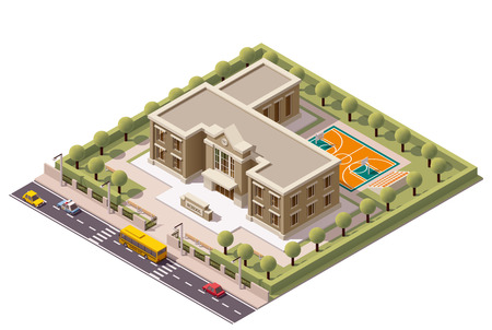 Photo for Vector isometric school or university building icon - Royalty Free Image