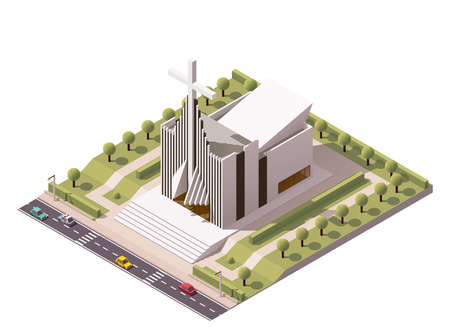 Illustration for Vector isometric modern church building icon - Royalty Free Image