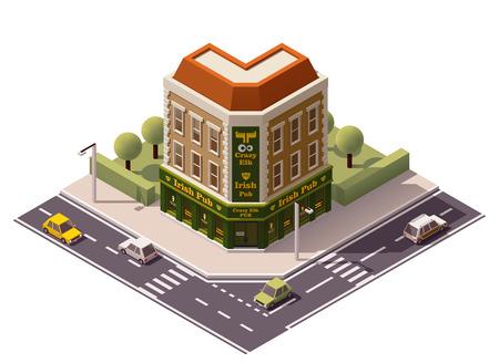 Illustration pour Vector isometric pub building icon - image libre de droit