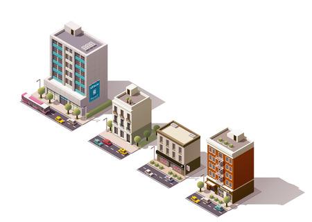 Illustration pour Set of the isometric town buildings - image libre de droit