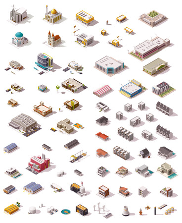 Illustration for Big set of the isometric buildings - Royalty Free Image