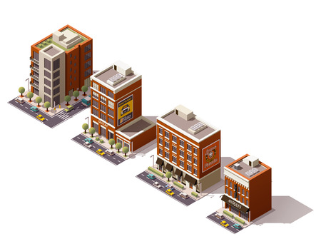 Illustration pour Set of the isometric town buildings - image libre de droit