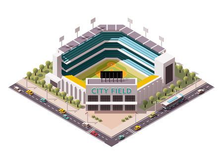 Illustration pour Isometric icon representing baseball stadium - image libre de droit