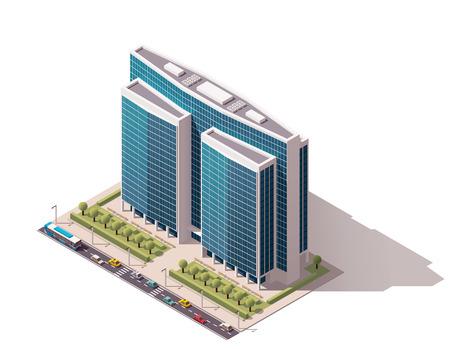 Illustration pour Isometric icon representing city building - image libre de droit