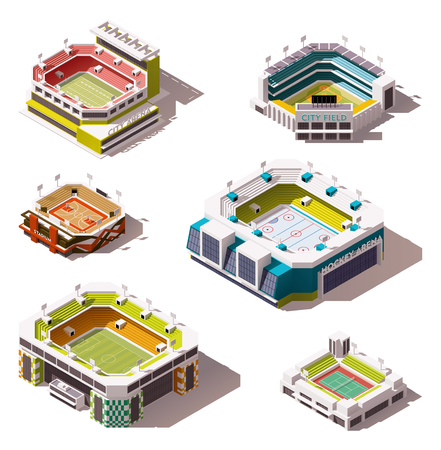 Illustration pour Set of the different isometric arenas - image libre de droit