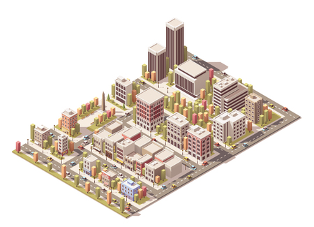 Illustration pour Isometric city streets with different buildings - image libre de droit
