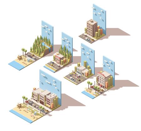 Illustration pour Set of the isometric car travel related landscape - image libre de droit