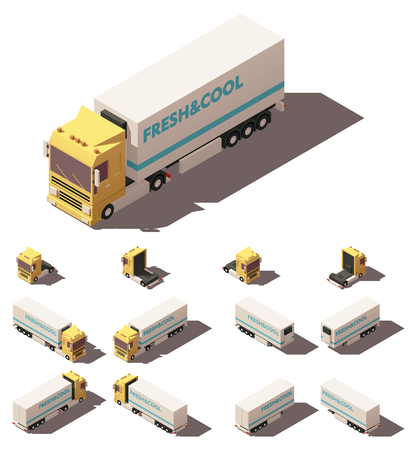 Illustration pour Vector Isometric icon or infographic element representing truck or tractor with insulated or refrigerated semi-trailer. Every truck and trailer in four views with different shadows - image libre de droit
