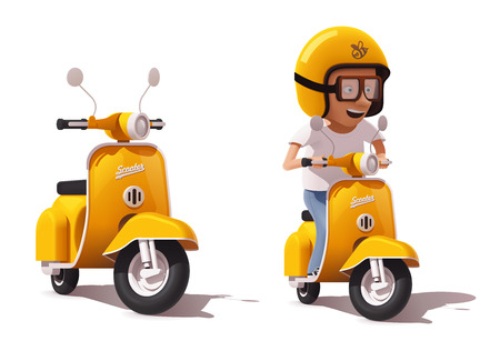 Illustration pour Vector realistic vintage yellow scooter and scooter driver icon - image libre de droit