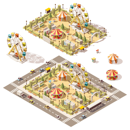 Illustration for Vector isometric low poly amusement park with attractions and stores - Royalty Free Image
