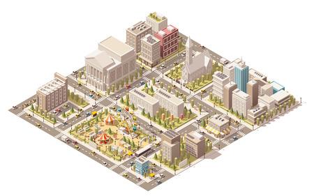Illustration pour Vector isometric low poly city infrastructure - image libre de droit