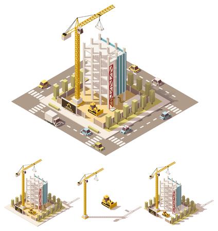 Illustration pour isometric low poly building construction site - image libre de droit