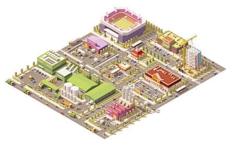 Illustration pour isometric low poly city infrastructure - image libre de droit