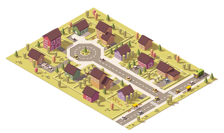 Illustration pour Isometric map of the small town or suburb - image libre de droit
