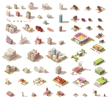 Illustration pour Different isometric low poly buildings and town elements - image libre de droit