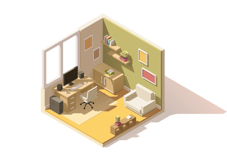 Illustration pour isometric low poly room cutaway icon. Room includes furniture - working table with computer, office chair, armchair, bookshelf and domestic plants - image libre de droit