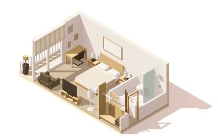 Illustration pour Vector isometric low poly hotel room icon - image libre de droit