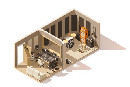 Illustration pour Vector isometric low poly recording studio icon - image libre de droit