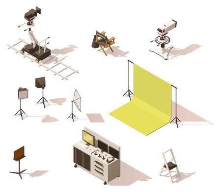 Ilustración de Vector isometric low poly video equipment set - Imagen libre de derechos