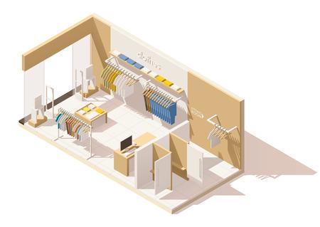 Illustration pour Vector isometric low poly clothing store icon - image libre de droit