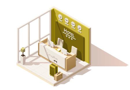 Ilustración de Vector isometric low poly hotel reception icon - Imagen libre de derechos