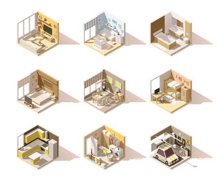 Illustration pour Vector isometric low poly home rooms set - image libre de droit