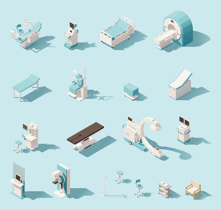 Illustration pour Vector isometric low poly medical equipment set - image libre de droit