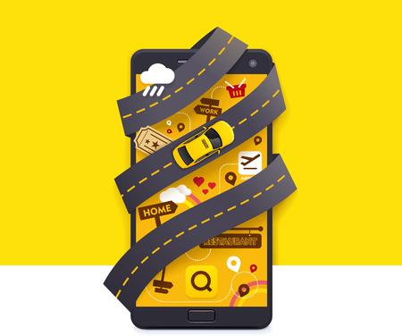 Ilustración de Vector taxi mobile app icon - Imagen libre de derechos