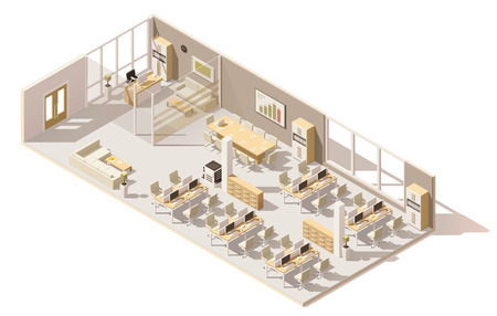 Illustration pour Isometric low poly office - image libre de droit