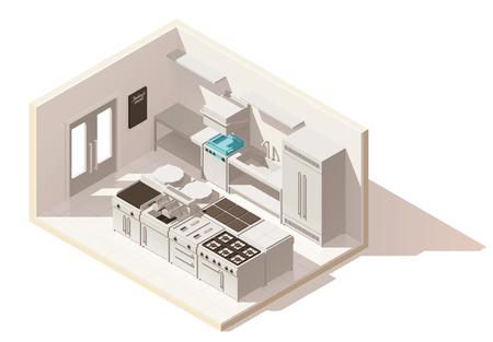 Foto de Vector isometric low poly professional kitchen - Imagen libre de derechos