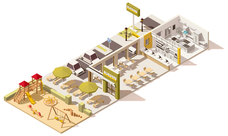 Illustration for Vector isometric low poly fast food restaurant - Royalty Free Image