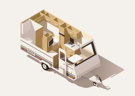 Illustration pour Vector isometric low poly camper trailer - image libre de droit