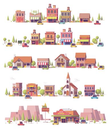 Ilustración de Vector low poly 2d small town scenes - Imagen libre de derechos